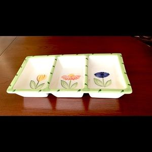 Porcelain serving dish 3 sections flower prints